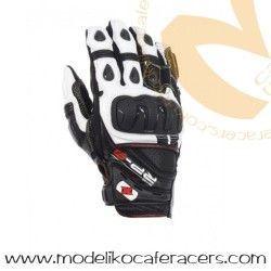Guantes Cortos Racing de Cuero Oxford RP-3 Color Negro/Blanco