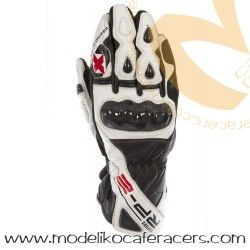 Guantes Racing de Cuero Oxford RP-2 Color Blanco/Negro