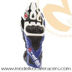 Guantes Racing de Cuero Oxford RP-2 Color Azul/Blanco