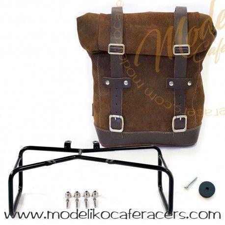 Bolsa Lateral en Piel Dividida con Marco Doble Nine T Color Colorado Brown