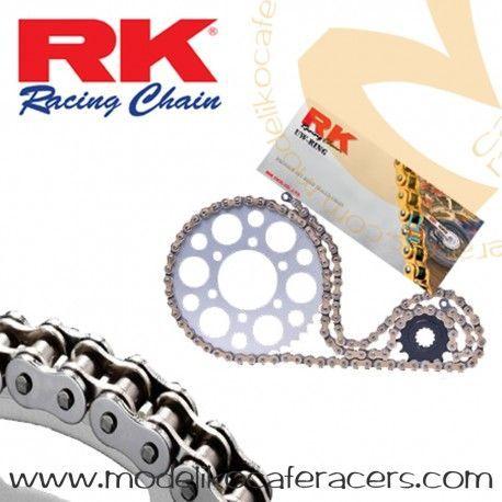 Kit de Arrastre RK 520 XSO2 Abierto Remache Hueco Dorada - SR250