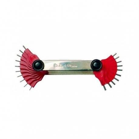 Calibre para toberas y chiclés 20 medidas 0.45-1.50 mm