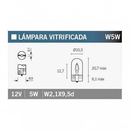 Lampara Vitrificada 12V5W W5W (x10)