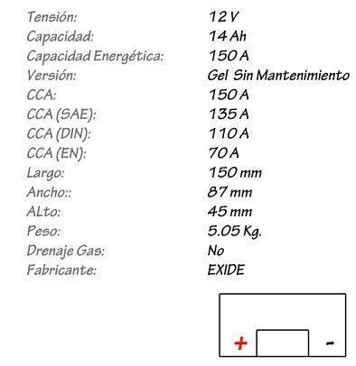 Batería de Gel EXIDE Modelo 12-14