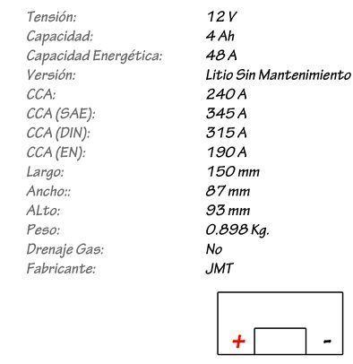 Batería de Litio JMT Modelo HJTX14H-FP