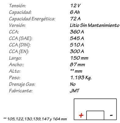 Batería de Litio JMT Modelo HJTX20CH-FP
