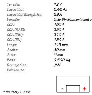 Batería de Litio JMT Modelo HJTZ7S-FP