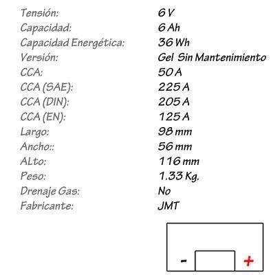 Batería de Gel JMT Modelo 6N6-3B-1