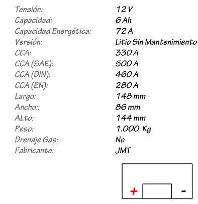 Batería de Litio V-TWIN JMT Modelo VTB-8